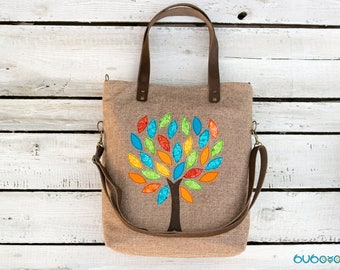 FREE SHIPPING***Light Brown Handbag,Tree, Applique, Leather Straps, Shoulder Bag, Messenger Bag, Foldover, Convertible, Canvas, Fabric