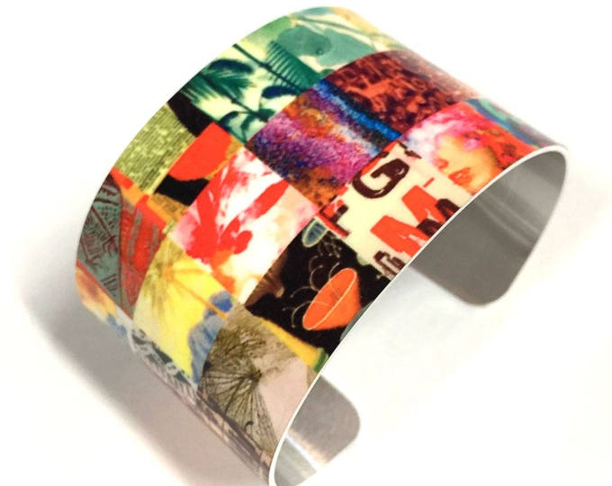 Patchwork, Cuff Bracelet, Sublimation, Wrist Art, Fashion jewelry, Aluminum, Jewelry, Customizable, gift for her, gift for friend