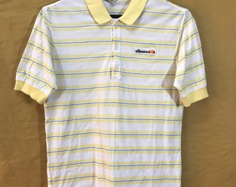 "70s 80s ELLESSE Tennis Stripes Shirt Adult Small Size Chest 17"" Made In Italy"