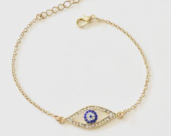 Evil Eye Bracelet, Charm Bracelet, Hamsa, Simple