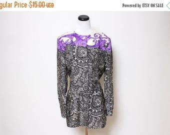 25% OFF VTG 90s Baroque Purple Black White Silk Paisley Blazer L