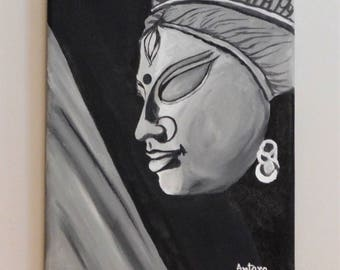 Goddess Durga, Original Art, Acrylic Painting, Black and White Wall Art, Painting on Canvas, Home Decor, Traditional Art from India