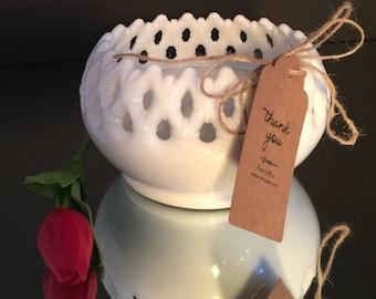 Vintage Milk Glass Soy Candle - Lace Lattice Bowl - Fragrance Free