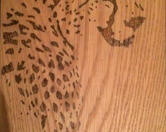 Leopard wood burning