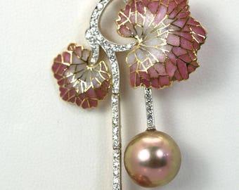 Plique a Jour Diamond & Pearl Flower Pendant