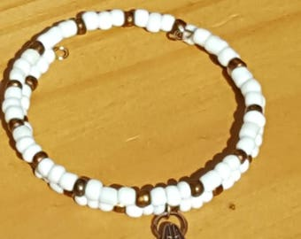 White and Bronze Seed Bead Memory Wire Bracelet