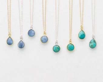 Tiny Stone Pendant Necklace • Circle or Teardrop Pendant • Turquoise and Blue Opal • on 14k Gold Fill, Sterling Silver LN720, LN721