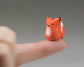 Little Orange Fox - Miniature Terrarium Ceramic Porcelain Animal Figurine Sculpture - Hand Sculpted