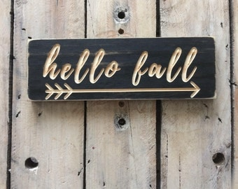HELLO FALL, thanksgiving, home decor, fall, arrow, seasoms, carved wood sign, wooden sign, wood wall art, rustic, painted wood, cnc machine