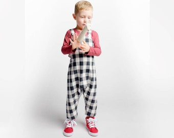 Buffalo Check Retro Toddler Romper Baby Boy Romper Unisex Toddler Fall Romper Christmas Outfit for Baby Holiday Toddler Outfit