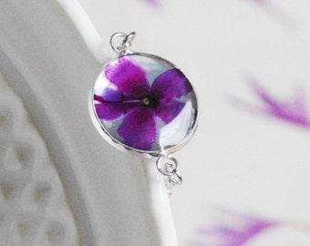 Verbena bracelet Real flower Unique Bracelet Nature Bracelet Resin jewelry Botanical bracelet Resin flower Gift idea for her Violet flower