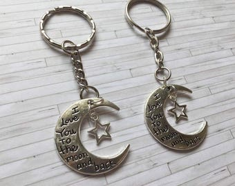I Love You to the Moon and back key ring, Gift for Her, Gift for Him, Fathers Day Gift, I love you gifts