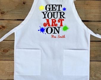 Art teacher apron, art teacher, apron, back to school, art apron, gift idea