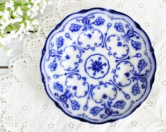 """Antique New Wharf Pottery """"Conway"""" Luncheon Plate 9""""   Antique Flow Blue Plate, English Plate, Blue Lunch Plate, Antique Plate"""