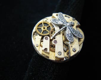 Dragonfly Steampunk ring on antique watch mechanism, gears B368