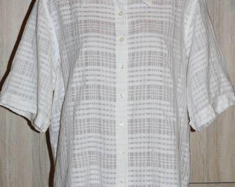 Joie de Vivre, White Checked Blouse, Vintage Blouse, Size XL