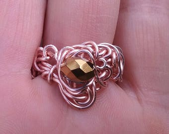 Wire Jewelry, Ring, Handmade- Gold Crystal Bead, Rose Gold Design, Ring, Size 10