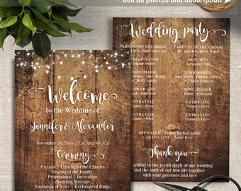 Printable Wedding Program, Includes Fan style template, Wedding templates, Instant Download Self Editable PDF P204