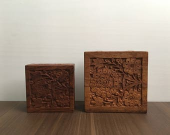 Handcrafted wooden boxes - Set of 2