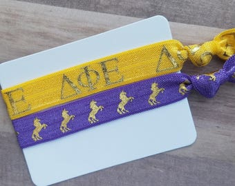 DELTA PHI EPSILON | Unicorn Hair Tie Set | Choose Your Own Colors | 2 Pack | Officially Licensed Product