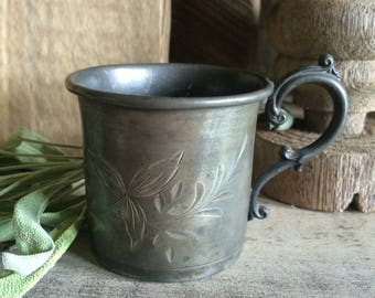 Cute Little Etched Tarnished Silver Childs Cup