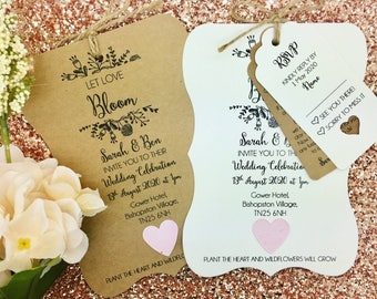 Summer Rustic Wedding Invitation, Plantable Seed Paper Confetti, Floral Wedding Invite Bundle
