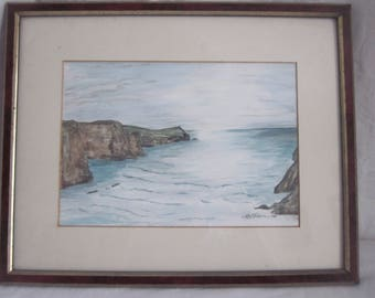 porth/whipsiderry newquay cornwall framed signed painting