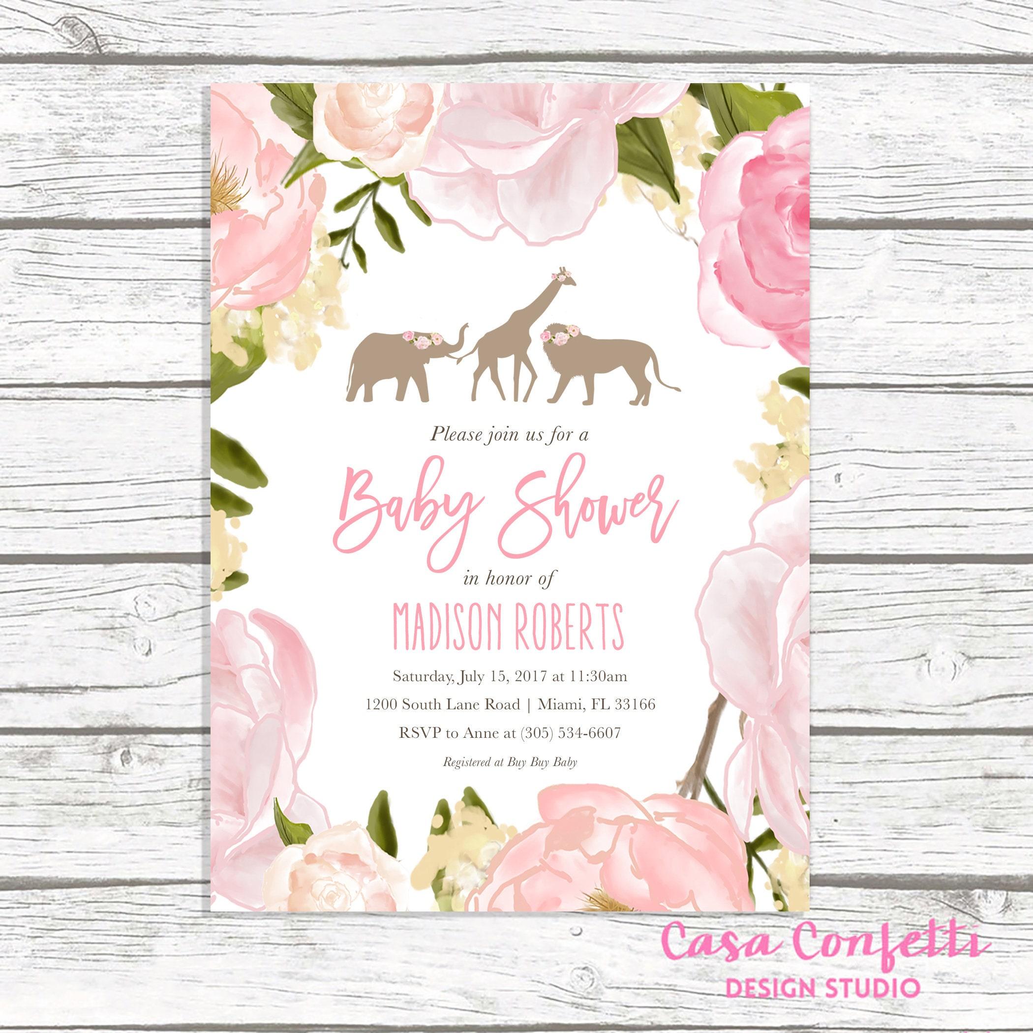 Safari Baby Shower Invitation Girl, Pink Safari Baby Shower ...