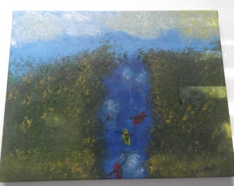 """Original oil on canvas river kayak painting impressionism signed by artist V. Anstey size 11"""" X 14"""""""