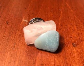 Baby Blue & White Rock Pin - Lapel Pin