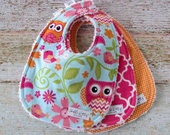 Baby Bibs - Baby Girl Bibs - Owl Baby Bibs - Woodland Bibs - Polka Dot Bibs - Chenille Bibs - Pink Orange and Blue Bibs - Baby Shower Gift
