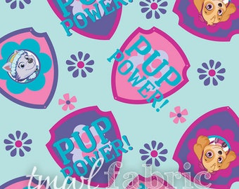 Woven Fabric - Light Blue Paw Patrol Shield Toss - Fat Quarter Yard +
