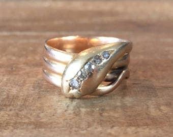 Antique 18k Gold Diamond Snake Ring