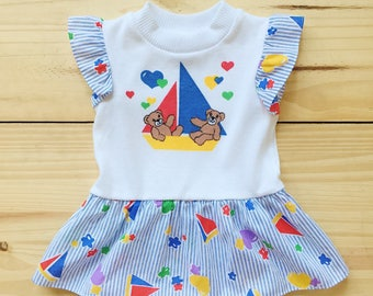 Vintage 80s 90s Bears in Sailboat Kids Ruffle Dress - 18 months