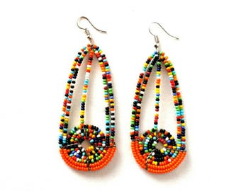 Orange bead earrings, boho earrings, handmade earrings, beaded earrings, earrings for women