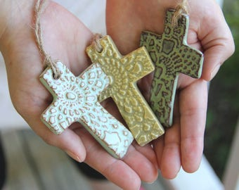 Small Cross Ornament, handmade pottery, ceramic ornament with lace imprint, religious