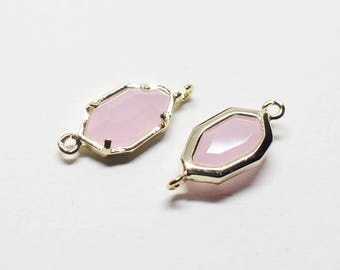 G0029/Ice Pink/Gold plated over brass/Unbalanced Octagon Glass Pendant Connector/6x15.5mm/2pcs