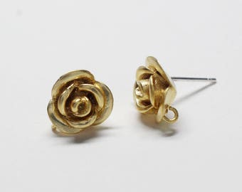 E0220/Anti-Tarnished Matte Gold Plating Over Brass +Sterling Silver Post/Rose Stud Earrings/10x11mm(include ring)/2pcs