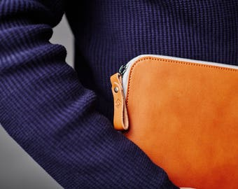 """MacBook Air 13"""" Zip Leather Case Folio Sleeve and Felt Laptop Cover Handmade, MacBook Air 13 inch case leather"""