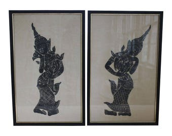 Pair of Mid-Century Charcoal on Rice Paper Temple Rubbings