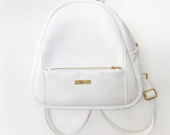City white backpack, women bag, vegan leather handbag, non leather rucksack, vegan leather purse, eco leather bag, gift, mini backpack