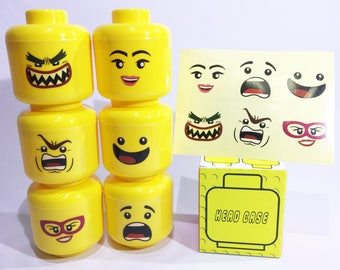Party Favor - Head Case with Bricks and LEGO Minifigure + BONUS Sticker Sheet