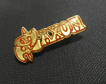 Saxon , vintage pin 80s , metal Crystal pin . Amazing !!! metal and a faith, not a fashion !!!