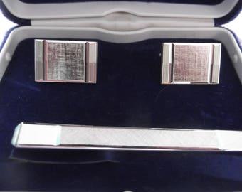 Vintage Swank Silver metal Cufflinks tie clip set,In box,silvertone,rectangle Cufflinks,Retro,Mid century Modern,Menswear,womenswear