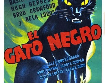 Back to School Sale: THE BLACK CAT Movie Poster 1941 Bela Lugosi Horror Classic