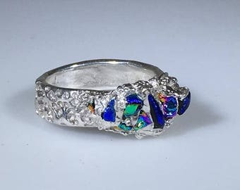 Aquatic fine silver ring