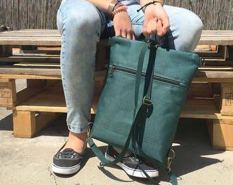 Teal Green Waterproof Backpack, Vegan Solid Rucksack, Unisex Pack
