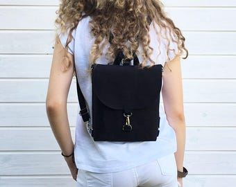 Mini Waterproof Backpack, Vegan Solid Rucksack, Black Mini Pack