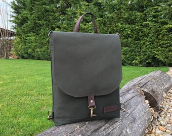 Forest Green Canvas Backpack, Vegan Military Pack, Field Bag