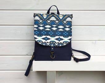 Navy Blue Mini Backpack, Waterproof Aztec Rucksack, Vegan Waterproof Bag, Festival Bag, Birthday Gift for Women